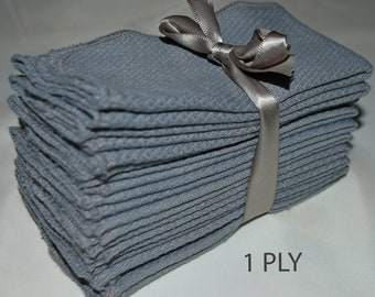 1 Ply 12x12 (pre shrunk) Inches Dyed Unbleached Cotton Birdseye Paperless Towel Grey Cloth