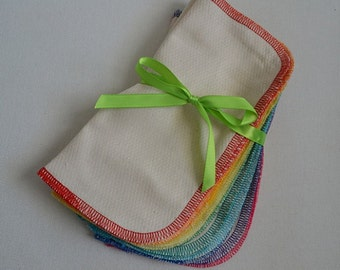 SECONDS.......1 Ply Little Wipes 8x8 size set of 10 in WHITE Cotton Birdseye Fabric