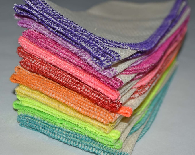 1-Ply 14x14 Large Size Unbleached Cotton Paperless Towels or Napkins******Your choice of color edging