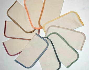 10 pack Flannel GOTS Certified Organic Cotton Little Wipes 8x8 2-Ply.....Your Choice of Edging Color