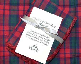 Gentleman's Casual Hankie Soft, Brushed Cotton Handkerchiefs 12x12 Set of 4
