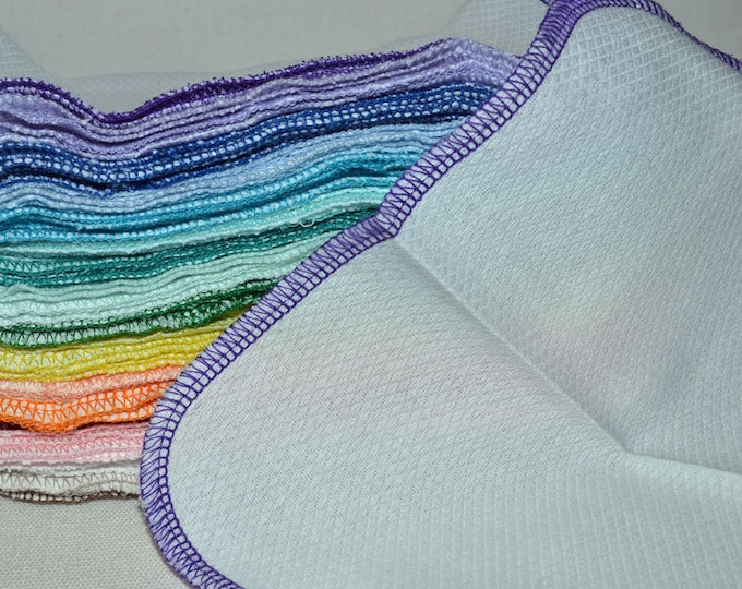 1 Ply Baby Wipes - White Birdseye Cotton Little Wipes 8x8 inches.....Your Choice of Edging Color