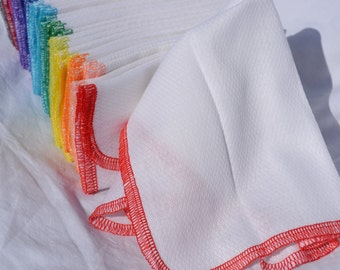 Try-it Size, Pack of 5 Paperless Towels in White Birdseye Cotton with Your Choice of Colored Edging