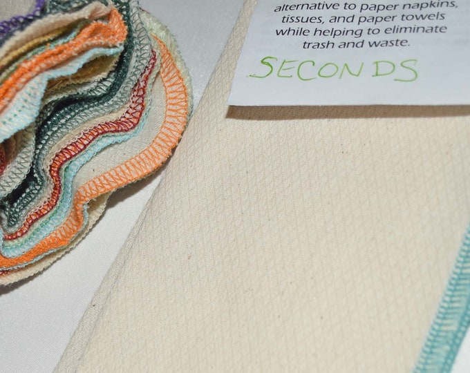 SECONDS 1PLY 8x8 inches UNBLEACHED Baby Wipes, Napkins or Washcloths, Pack of 10 - Great Bargain
