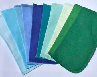 Full Blues and Greens Set of 10 2-Ply Solid Color Flannel Washable Napkins 8x8 inches - Little Wipes (R) Flannel