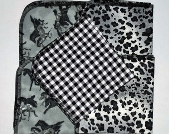 CLOSEOUT!!!!! Black and White Variety Set Flannel 2 Ply... 12x12 Little Wipes 5 Pack