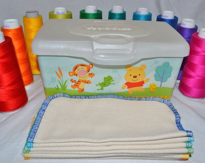 2 Ply Baby Wipes or Napkins Double Thick Unbleached Birdseye Cotton Little Wipes 8x8 inches.....Your Choice of Edging Color