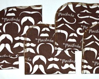 Moustache Printed Cotton Flannel Set 1 Ply... 12x12 Little Wipes 5 Pack