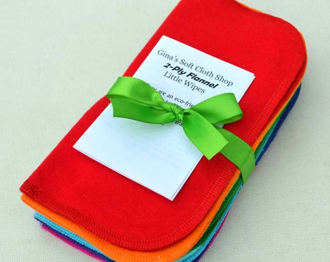 Full Rainbow Set of 10 2-Ply Solid Color Flannel Washable Napkins 8x8 inches - Little Wipes (R) Flannel