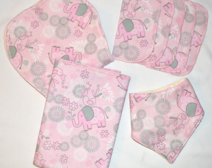 Pink & Grey Elephant Blanket Set with Matching Burp Cloth, Matching Bib, Matching Little Wipes-Set comes in Gift Box