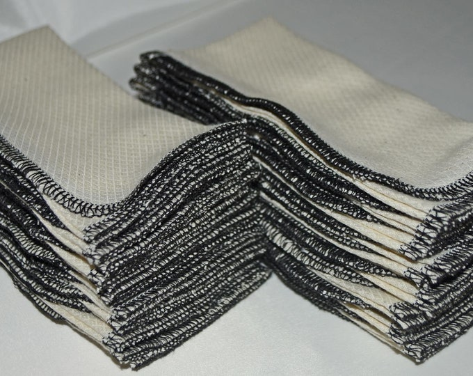 20 pack GOTS Certified Organic Cotton Paperless Towels 1 Ply, Size 11x12 inches.....Your Choice of Edging Color...