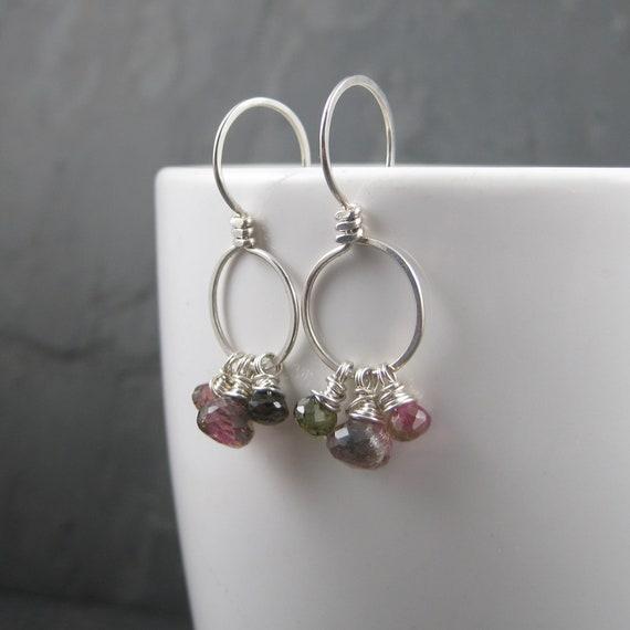 Pink Long Earrings Ombre Tourmaline Long Earrings Tourmaline Drop Earrings Shaded Tourmaline Long Earrings Tourmaline Long Earrings