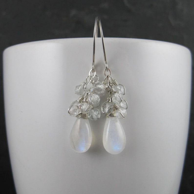 Blue Flash Moonstone and Topaz Cluster Earrings Blue Fire Gemstone Cascade Dangles Sterling Silver Moonstone Briolette Earrings