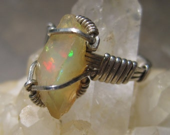 Rough Ethiopian Opal Ring in Sterling Wire Wrapped - sz 5 VIDEO