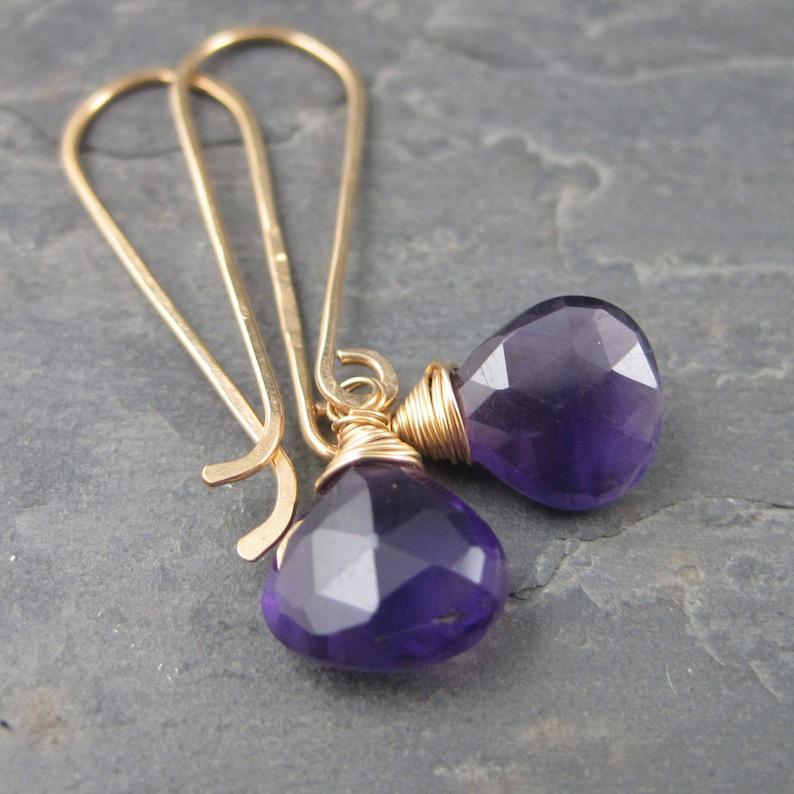 Long Amethyst Earrings 14kt Gold Briolette Dangles Dark Violet African Amethyst