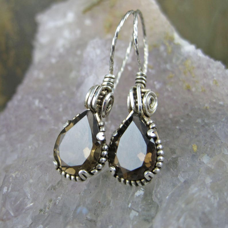 Victorian Wire Wrapped Smokey Quartz Pear Earrings Sterling Silver Wire Faceted Prong Set French Hooks