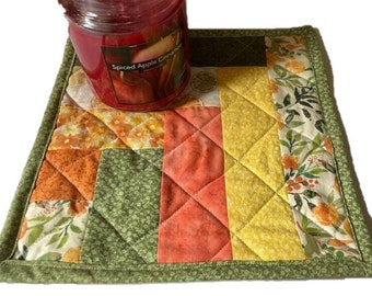 Quilted Mug Rug, Candle Mat, Placemat Lime and Yellow