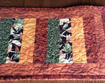 Fall Quilted Table Runner, Floral Strip Pieced Quilt, Table Topper
