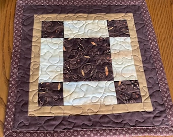 Quilted Mug Rug, Candle Mat, Coffee Bean Brown