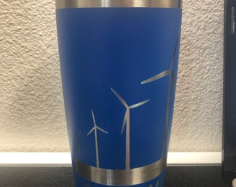 Wind Turbine tumbler, 20 oz stainless steel insulated tumbler with matte coating, engraved wind turbines blow me, personalized option