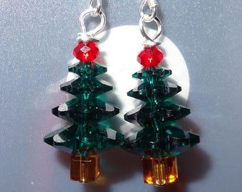 Shimmering Crystal Christmas Tree Earrings ER1035
