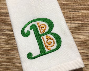 SIGNATURE Embroidered Green Palm Tree White Hand /& Fingertip Bathroom Towel Set