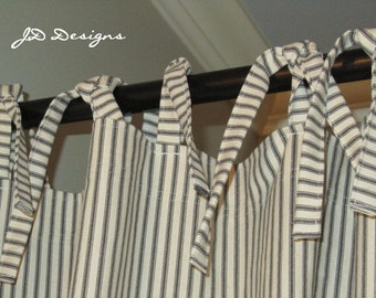 Extra Long Shower Curtain with Ties - 104Wx86L - Stripe Ticking - JD Designs