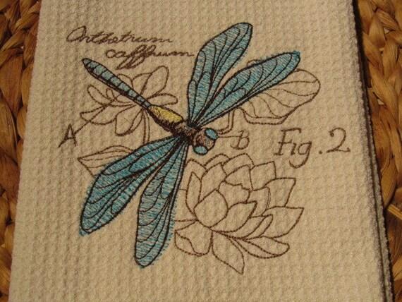 Dragonfly Diagram Beige Microfiber Waffle Weave Kitchen Etsy