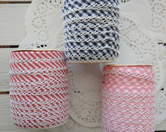 10 Yds Navy 1//4 Assorted Pattern Ribbon Lace Trim Double Fold Bias Tape American Made Embroidery Applique Fabric Delicate DIY Art Craft Supply for Scrapbooking Gift Wrapping