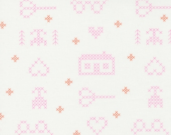 Cross Stitch Sampler Off White from Make Time Collection by Aneela Hoey for Moda Fabrics