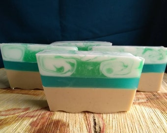 A day at the beach all-natural handmade soap 4-5 oz bars glycerin goat's milk and oatmeal soap unscented