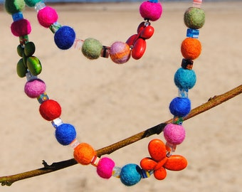 Butterflies and Wool Beads Necklace - Felted Wool Beads - Cyber Monday Sale