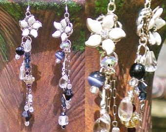 Dangle Earrings - Statement Earrings - Beaded Earrings - Vintage Floral Earrings in Black and White - After Five Earrings - R68