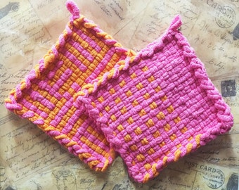 David's Potholders - Cotton Potholders - Orange and Pink Hot Pad - Woven Pot Holders - Cotton Trivet - Handmade - Set of 2