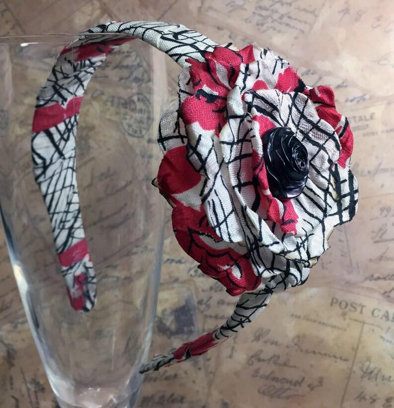 Vintage Fabric Headband  Singed Flower Headband  Flower Hair image 0
