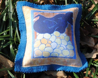 Little Black Hen Pincushion Sewing Notions Hen on Nest Art Pin Pillow Vintage Art Print on Fabric