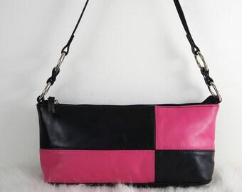 Vintage 90s Pink and Black Genuine Leather Rectangular Small Shoulder Bag