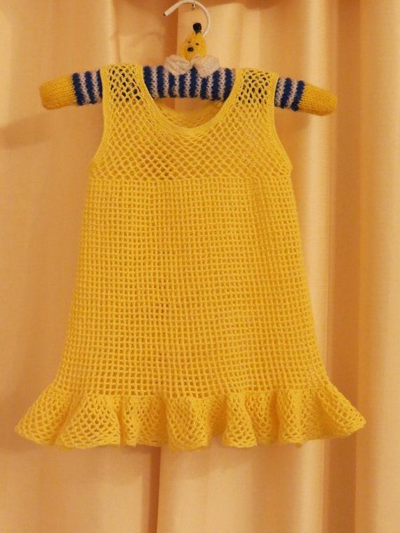 Vintage Handmade Crocheted Yellow Girl's Dress Tun