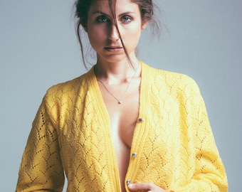 Vintage 60s Handmade Bright Yellow Knitted Cardigan Sweater