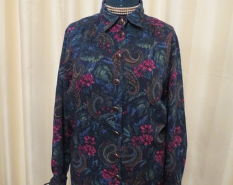 Vintage Schneberger Floral Wool 80s Shirt-Like Dress