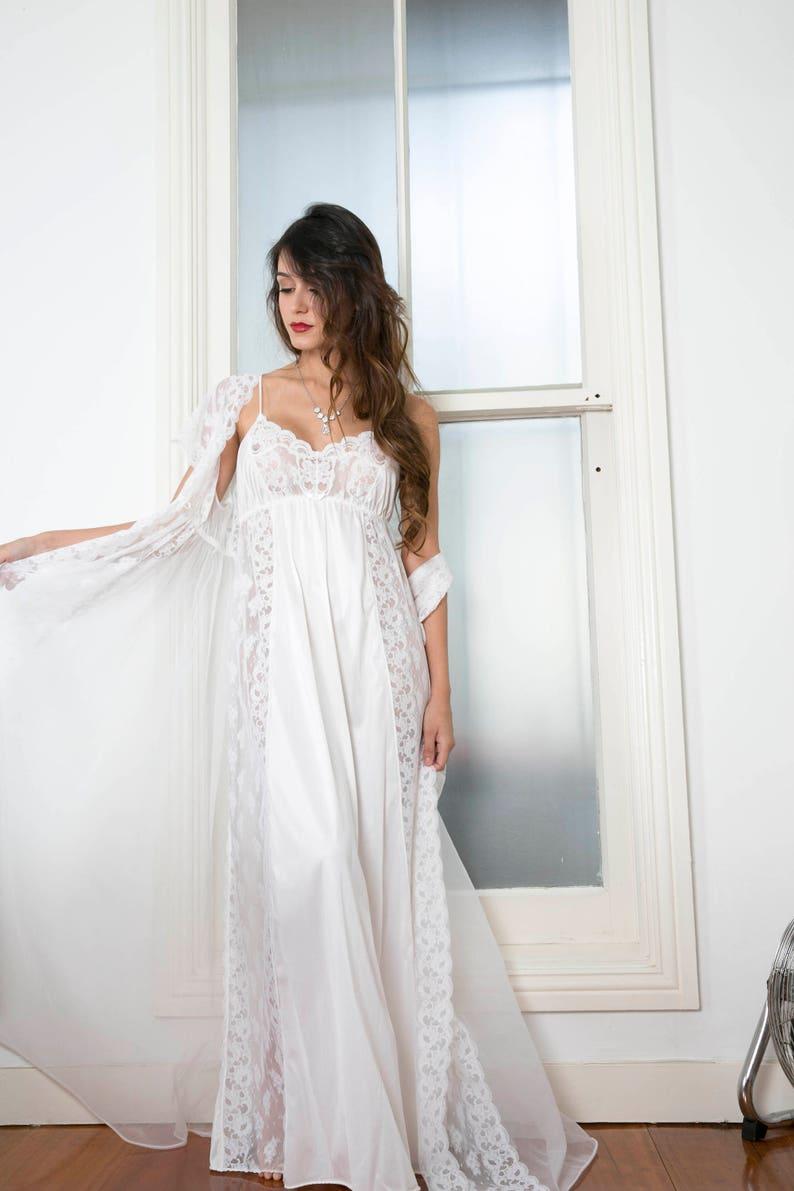 b1a8af4c972 Vintage 60s 70s 2 Piece Ivory Off White Lace Long Wedding