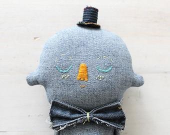 Textile Soft Sculpture Denim Character OOAK Art Doll No.3