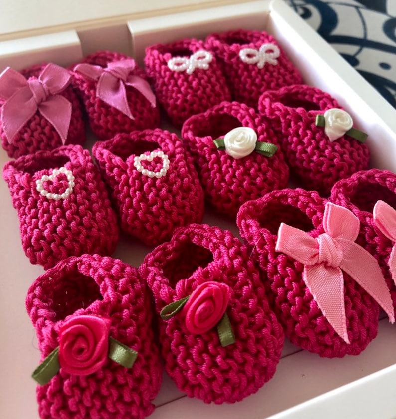 a7f1f59a862b66 Girl baby shower decorations  hand knit raspberry hot pink