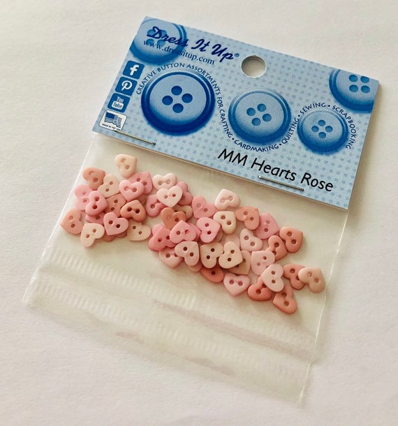 Jesse James ~ Dress It Up Sew Thru Micro Valentine Heart Shape Buttons