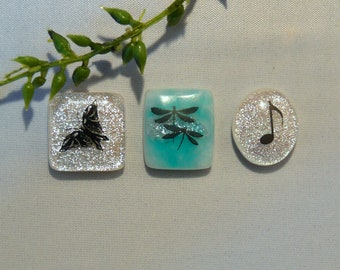 3 Fused Dichroic Glass PETITE Cabochons...Butterfly, Music Note, Dragonflies..Dichroic Cabs for Jewelry Designers