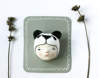 Panda bear face brooch - Black Friday 25 % off -  Paper clay animal pin - Handsculpted jewelry - Ready to ship