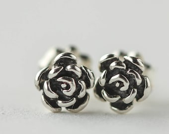 Silver Rose Earrings, Sterling Silver Jewelry, Flower Post Earrings, Ready to Ship