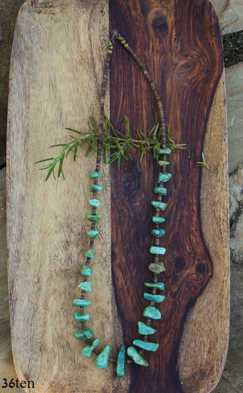 Vintage Statement Turquoise Necklace Southwestern Jewelry, Heishi and turquoise Boho Jewelry