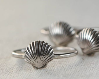 Sea Shell Ring, Stacking Ring, Nautical Ring, Sterling Silver Ring