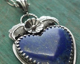Lapis Lazuli Heart and Sterling Silver Necklace, Boho Jewelry, Southwestern Jewelry